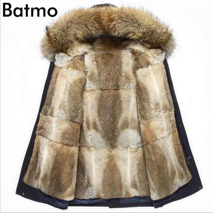 Batmo 2019 new arrival winter high quality warm rabbit fur liner hooded jacket men,raccoon fur collar winter warm coat men