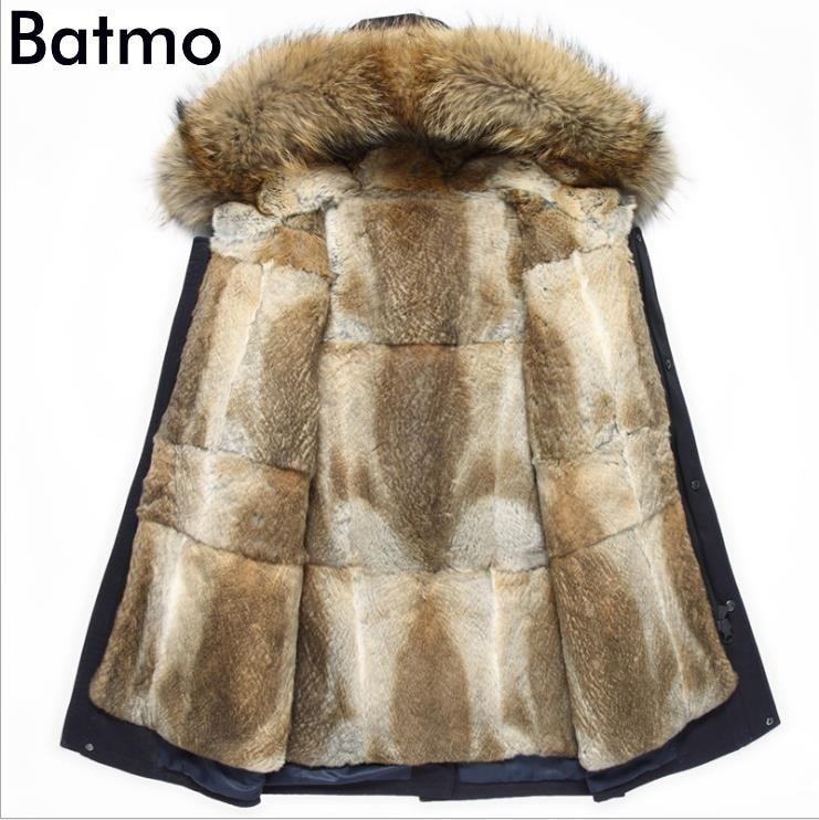 Batmo 2019 nouveauté hiver qualité supérieure chaud lapin fourrure doublure veste à capuche hommes, raton laveur col de fourrure d'hiver manteau chaud hommes