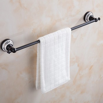 Oil Rubbed Bronze Wall Mounted Porcelain Base Bathroom Bath Towel Rack Bar Hotel Home Clothes Towel Holder KD748 free shipping solid brass orb oil rubbed bronze bath form bathroom holder soap dishes wall mounted holder rack