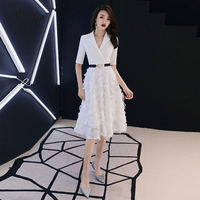 weiyin Robe De Soiree Short White Black Lace Short Evening Dress The Bride Sexy V Neck A line Party Gown Formal Dresses WY1136
