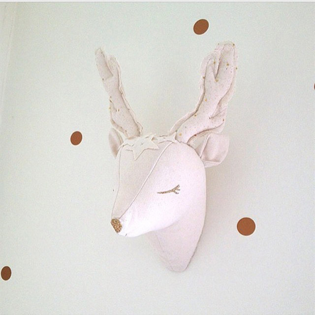 Stuffed animal heads wall decor