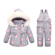 OLEKID -30 Degree Winter Baby Girl Suit Down Jacket Coat + Overalls Infant Girl Clothes Set 1-4 Years Kids Toddler Girl Snowsuit(China)