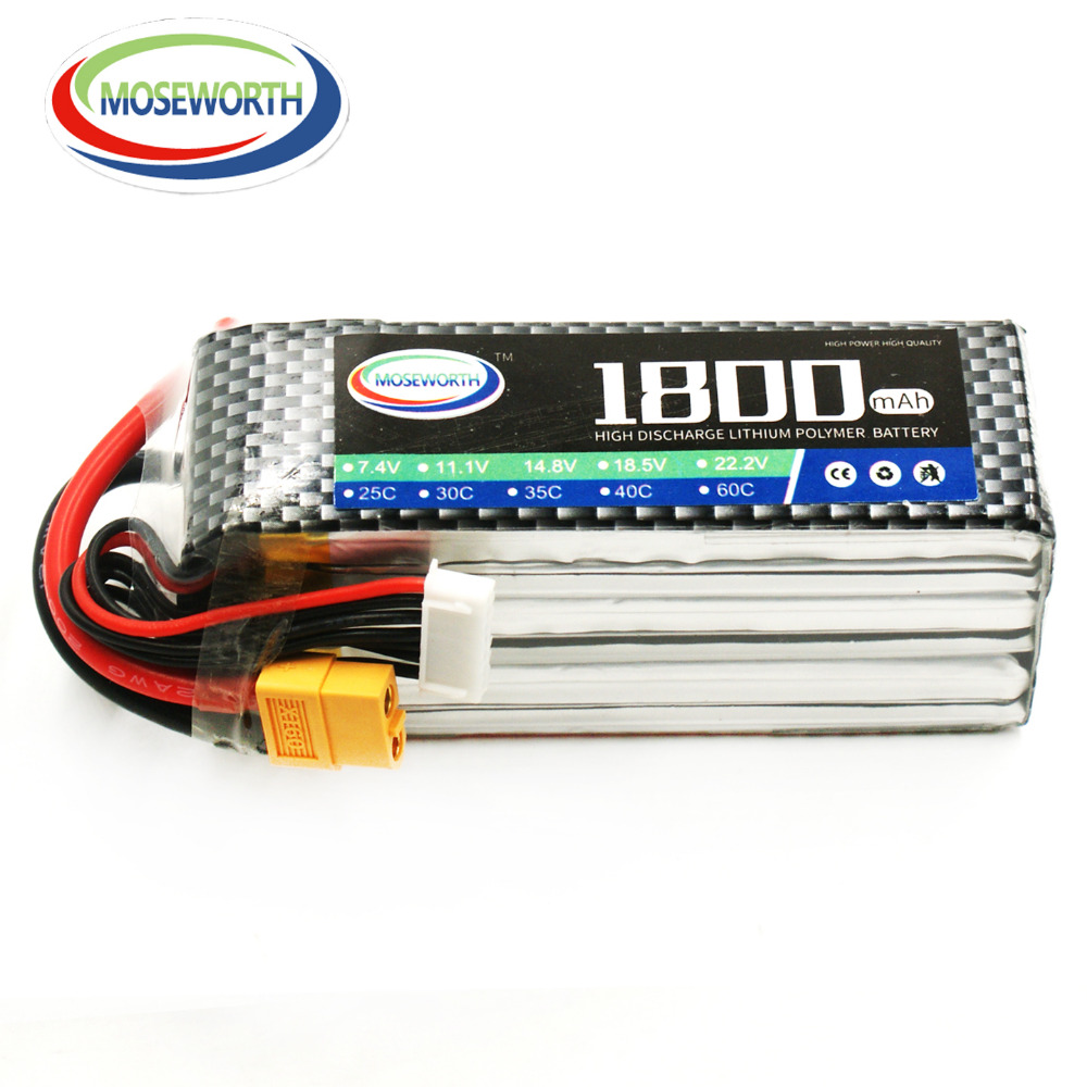 MOSEWORTH 6S RC LiPo Battery 22.2V 1800mah 30C for Helicopter Quadrotor Airplane Car Li-ion Cell 4 2v 6a 1s lithium battery protection pcb bms board for 18650 18550 li ion lipo battery cell