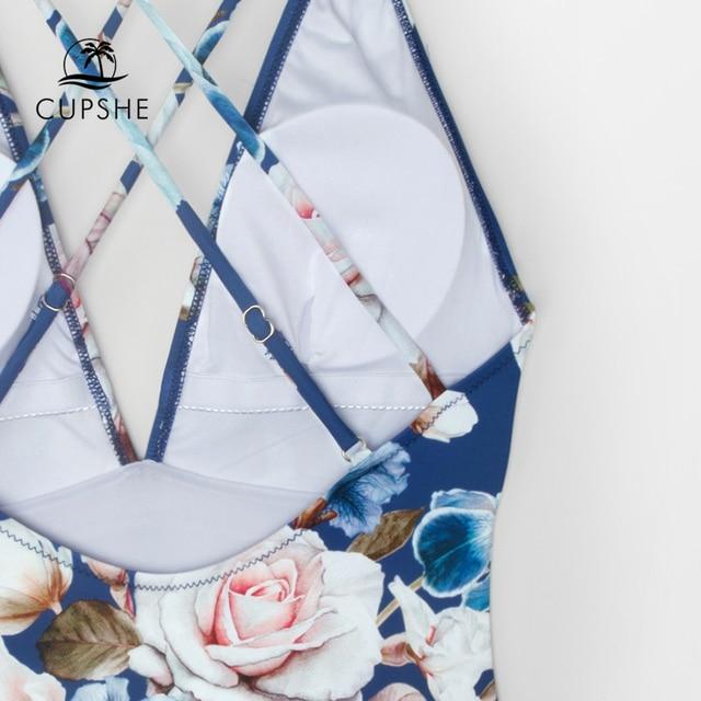 CUPSHE Blue Floral Strappy One-Piece Swimsuit Women Sexy Crisscross Monokini Swimwear 2020 Girl Beach Bathing Suits 3