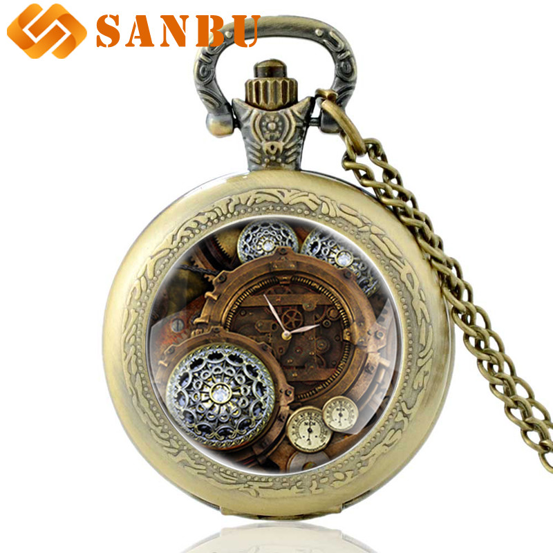 Antique Bronze Steampunk Pocket Watch Vintage Men Women Skeleton Punk Pendant Necklace Quartz Watches