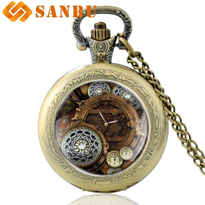 Antique Bronze Steampunk Pocket Watch Vintage Men Women Skeleton Punk Pendant Necklace Quartz Watches