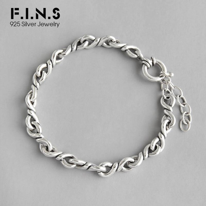 F.I.N.S Do The Old Twist Rope Chain Bracelet Female Silver 100% 925 Sterling Bracelets For Women Men Silver Vintage Fine Jewelry