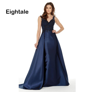 Eightale Mother of the Bride Dresses with Detachable Skirt V Neck Appliques Satin Navy Blue Mermaid Evening Dress for Party