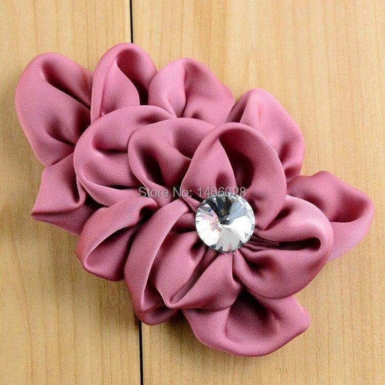 30 шт./лот/, атласные цветы с жемчугом, лента со стразами