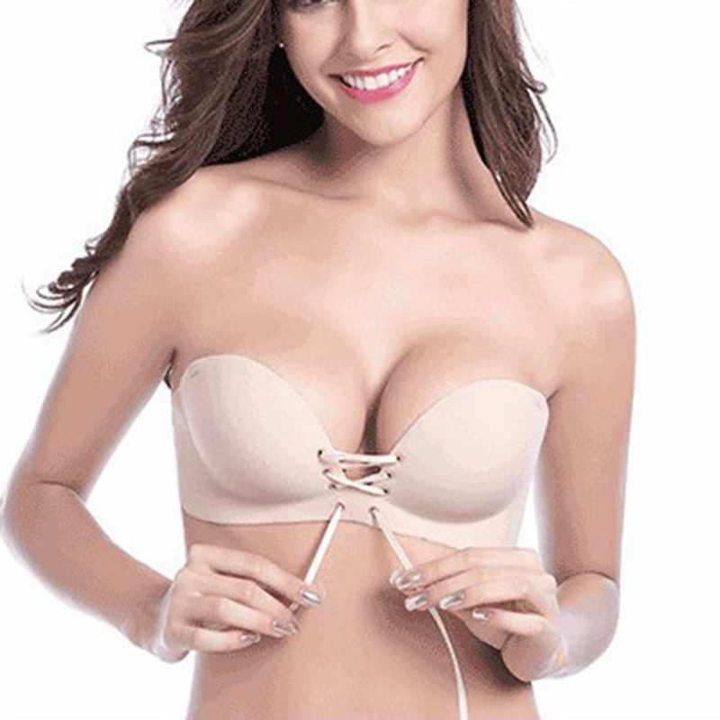 Women Sexy Push up Adhesive Bra Silicone Backless Wedding Bralette Strapless Invisible Underwear Seamless Bras 1/2 Cup