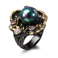 Trendy Pearl Ring Black And 18k Gold Plated With Cubic Zircon Fresh Water Pearl Flower Ring