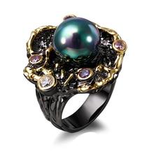 Новые модные женские Кольцо фианит и жемчуг кольцо цветок черный цвет кольцо ювелирные изделия Бесплатная отправка Винтаж стиль