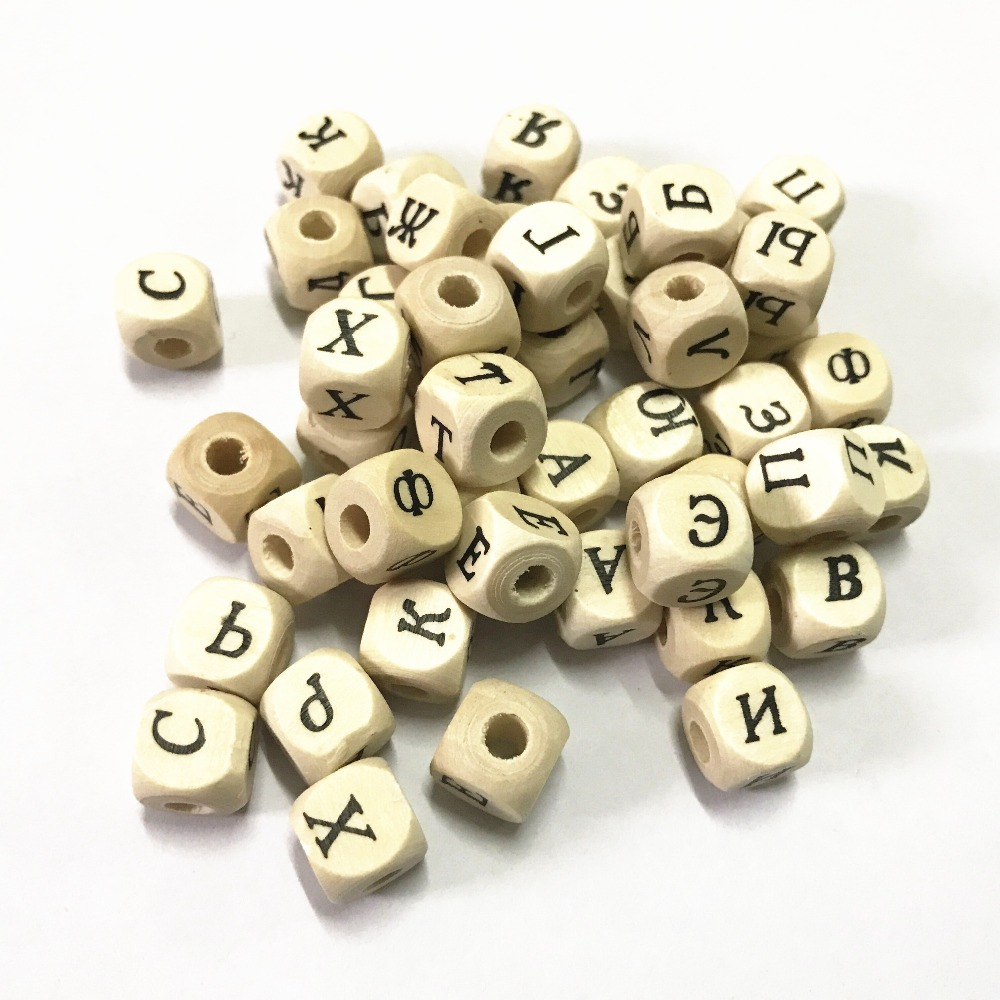 50Pcs Wood Spacer Beads Alphabet Cube Mixte Pour Jewelry Making 10X10Mm KW