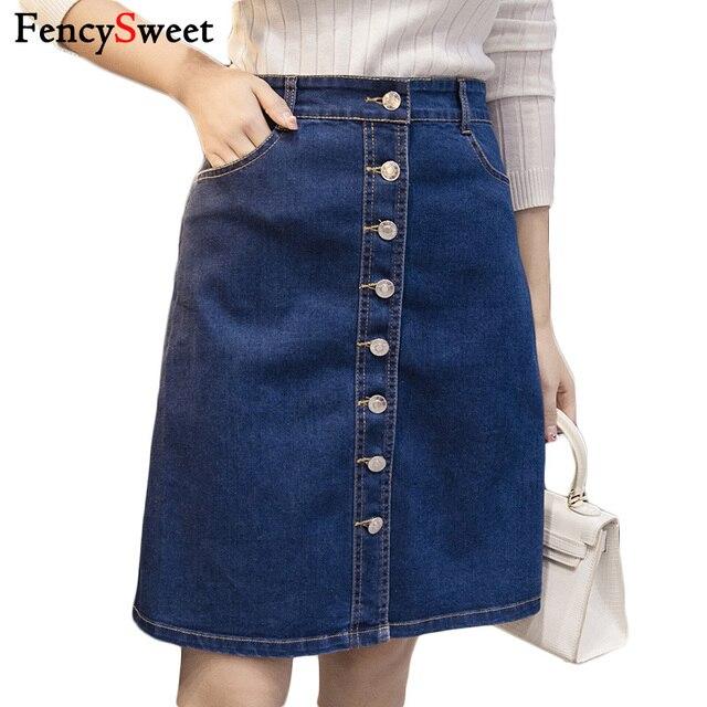 272d12b7a € 25.48 |Nuevo diseño Mujer Denim Falda Midi rodilla longitud Saia Jeans  señoras Jean larga faldas más tamaño Single Breasted cintura alta en ...