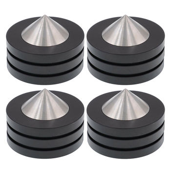 4PCS AUDIO FEET 49x36mm 304 Stainless Steel Graphite Speaker Cabine Amplifier Turntable CD Player Radio DAC Isolation Spike Base