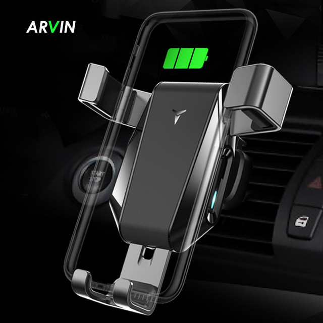 Arvin Car Phone Holder Wireless Charger Stand For iPhone X XR Samsung Automatic Intelligent Gravity Linkage Quick Charger Mount