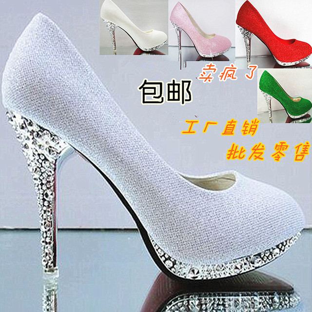 Women high quality 10cm high heel pumps fashion bride red wedding and party shoes lady cute thin heel sweet shoes zapatos
