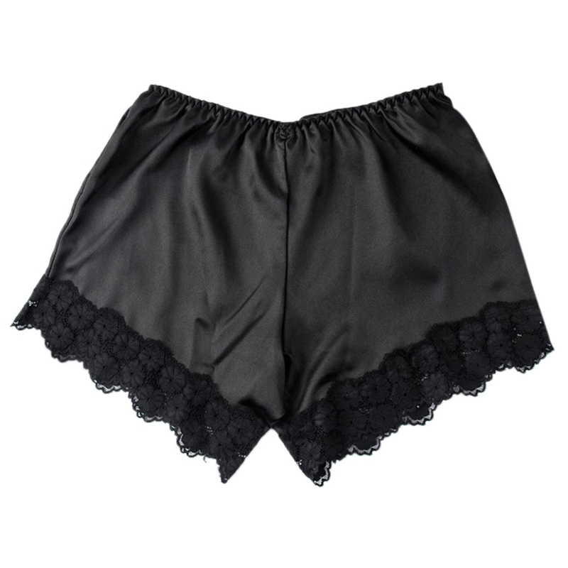 Women Floral Lace Trim Underpants Under Wear   Shorts   Solid Color Black White Lace Ventilation