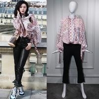 2018 Spring New Vintage Patchwork Printed Chiffon Blouses Tops Women Long Sleeve Loose Shirts Women Elegant Office Tunics