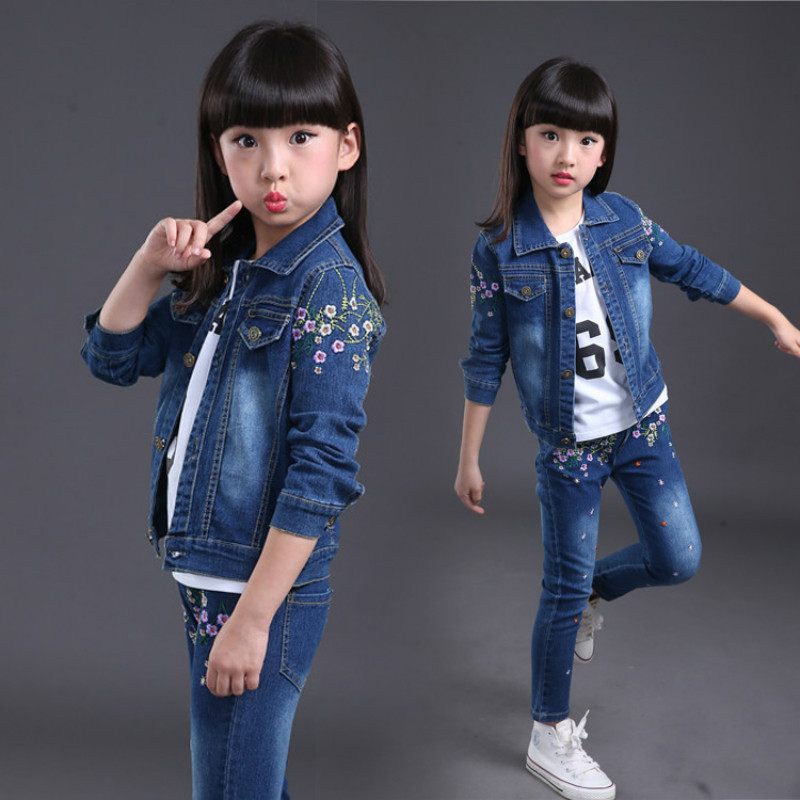 2018 fashion baby girl jeans clothes set spring and autumn flower denim jacket +girls jeans body suit kids cowboy clothing sets kids girls clothes sets 8 10 12years children clothing boys set autumn set outfits 2017 spring suit letters denim jacket jeans