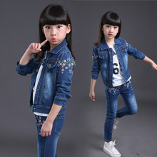 цены 2019 fashion baby girl jeans clothes set spring and autumn flower denim jacket +girls jeans body suit kids cowboy clothing sets