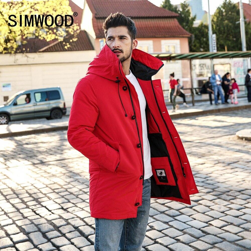 SIMWOOD 90 Grey Duck Coats Men 2018 Winter Warm Hooded Parka Fashion Length Jackets Male High