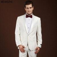 Мужская смокинг жениха для свадьбы Торжественная одежда белого изготовление под заказ костюмы 2017 одна кнопка мужские