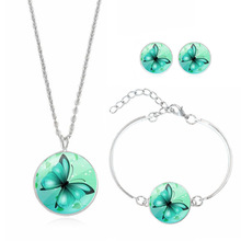 Fashion Jewelry Set Silver Plated Glass Cabochon Butterfly Choker Necklace Earring&Bracelet Set for Women Gift