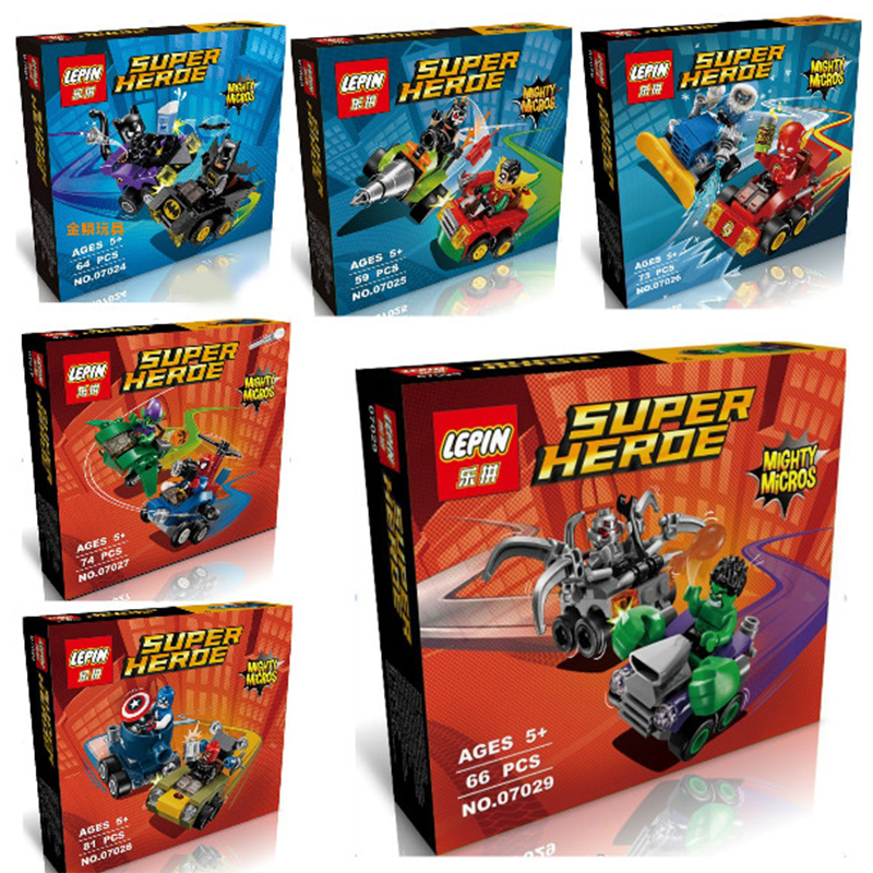 6pcs/lot Super Heroes Mighty Micros Avengers Batman Marvel Building Blocks Figures Bricks Kid Toy Gift With Lepin