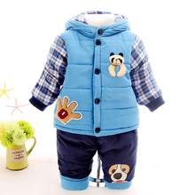 New 2017 Baby boys winter clothing suit set warm down jacket+pants long sleeve coat kis clothing set fashion clothes 12M-3years
