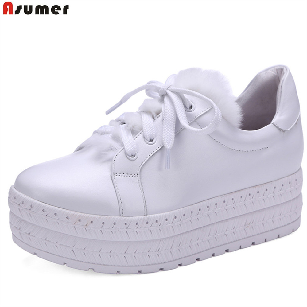 ASUMER black white round toe lace up spring autumn ladies shoes flat platform women natural genuine leather+fur flats tfsland men women genuine leather loafers students white shoes unisex spring round toe lace up breathable walking shoes sneakers