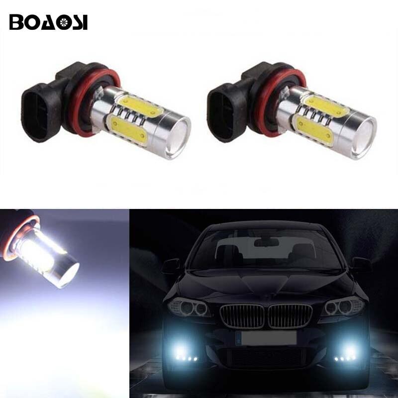 BOAOSI For Ford Mazda Mitsubishi BMW E39 325 328 mini H11 LED canbus Bulbs Reflector Mirror Design For Fog Lights 2pcs