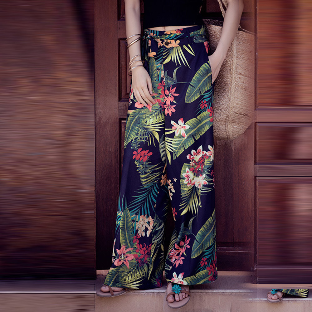 Women's   Wide     Leg     Pants   Summer Tropical Floral Printed Trousers High Waist Loose Zipper   Pants   with Belt Plus Size Vacation Plazzo
