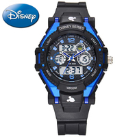 Disney Children Sports Multifunctional Watch Boy Girl Like 5ATM Waterproof Rubber LED Round Watches Kids Quartz