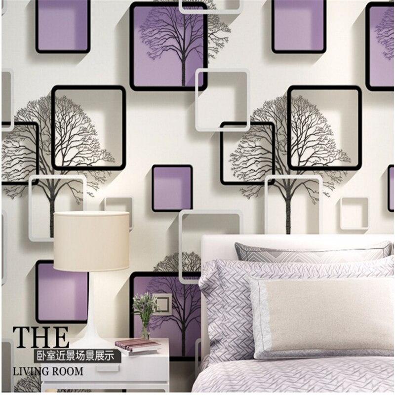 Beibehang simple 3d wallpaper background wallpaper the sitting room TV purple PVC waterproof grid, blue and black wallpaper roll beibehang wallpaper modern sitting room