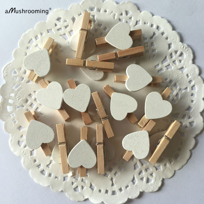 50x Mini Wood Pegs Craft for Wedding Christmas Party Decorative Photo Clips