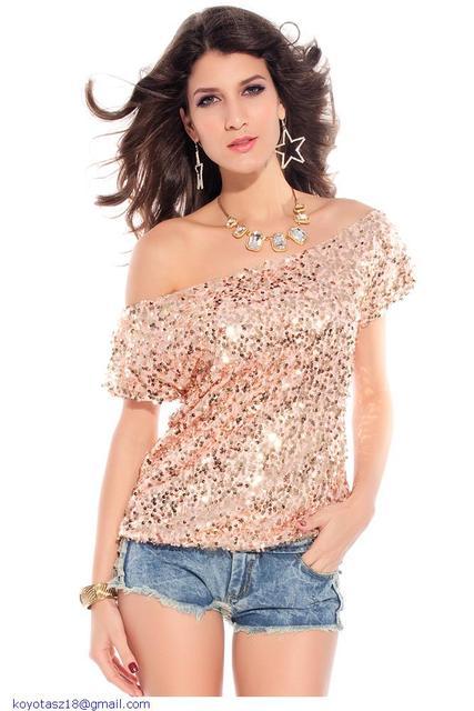 Glitter Off-shoulder Sequin Top