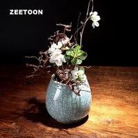 Japanese Zen Style Vintage Longquan Celadon Flower Pot Mini Vase Tea Room Ornaments Ikebana Tabletop Ceramic