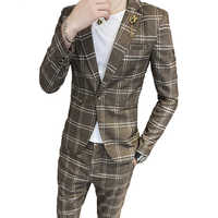 Hair stylist suit men's two-piece youth Korean version of the trend suit jacket student handsome striped suit suit (top + pants)
