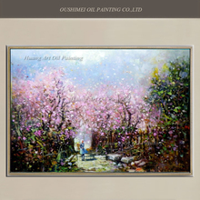 New Handmade Peach Garden Painting Pink Landscape Oil Painting Wall Art for Living Room Decor Modern Scenery Paintings