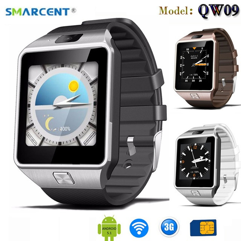 Montre intelligente SMARCENT QW09 1.54 pouces 3G MTK6572 1.0 GHz double cœur 512 mo RAM 4 GB ROM Android 4.4 Bluetooth 4.0 montre Bracelet