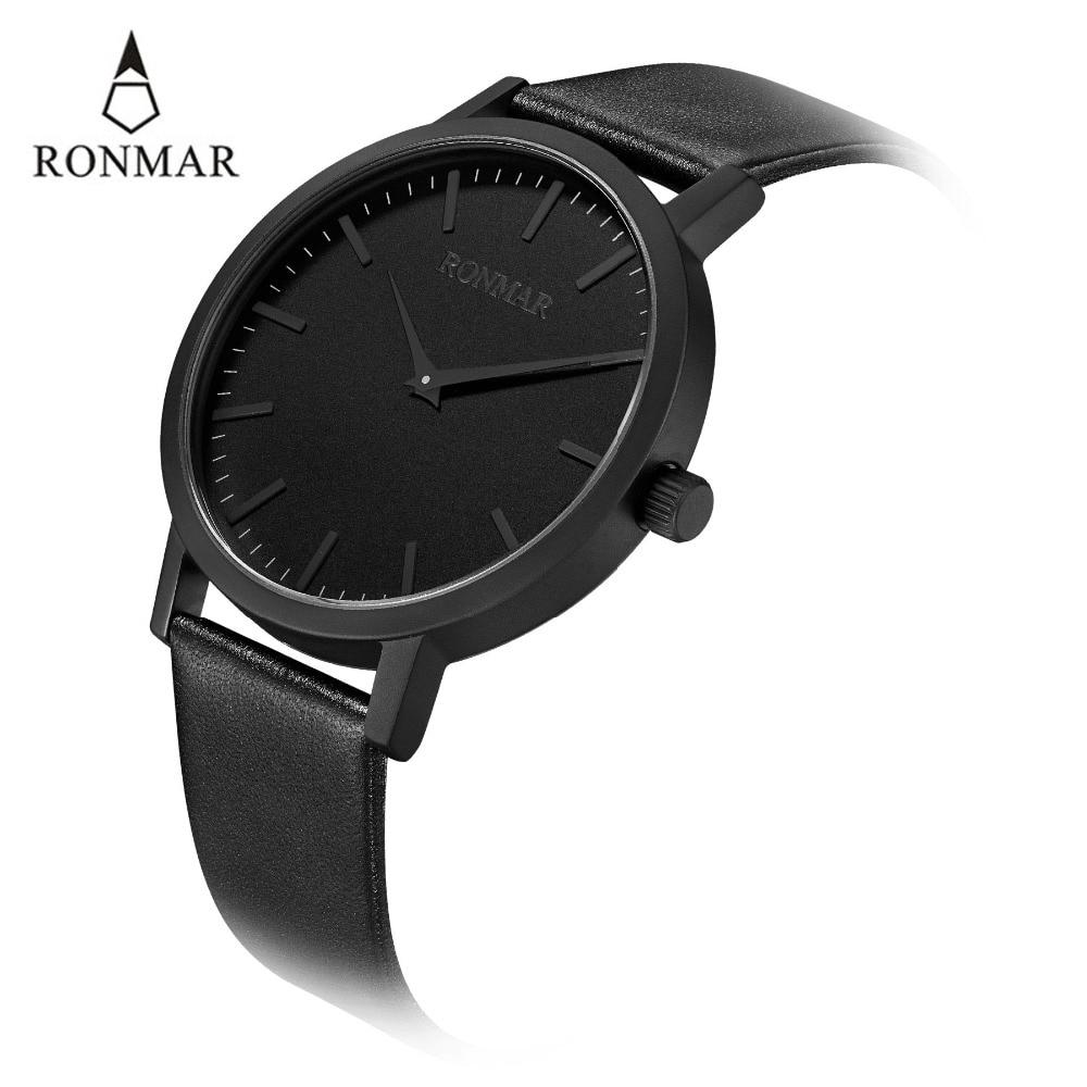 Reloj de lujo de los hombres 2018 de cuarzo de moda relojes de correa de cuero genuino relojes de oro RONMAR marca reloj resistente al agua - 5