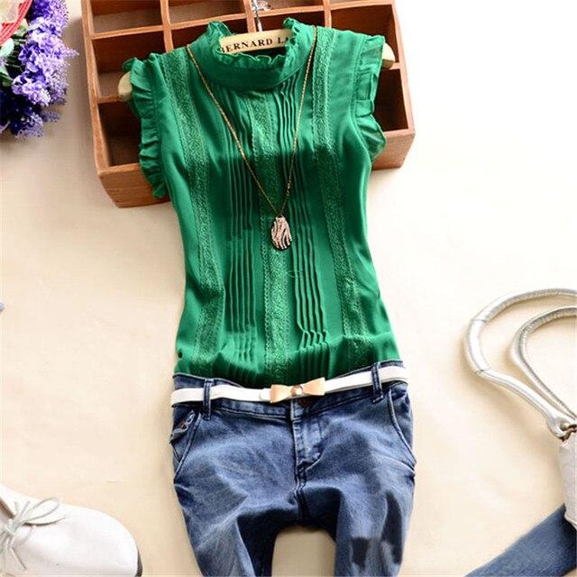 7e15b2836877da Summer Top Lace Chiffon Blouse Women Green White Shirt Women Sleeveless  Womens Tops And Blouses Ladies