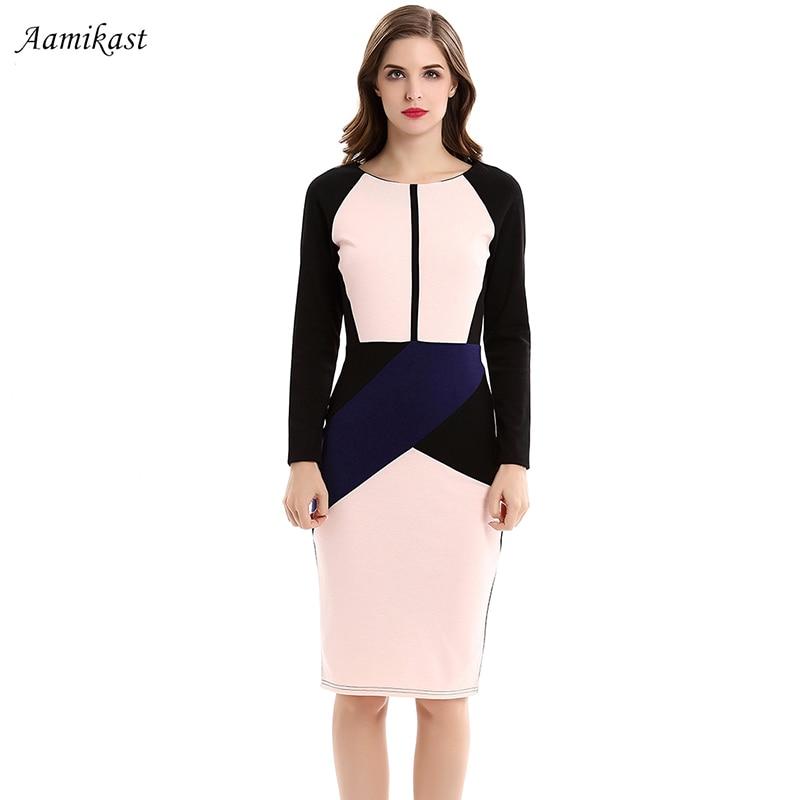 47c5e45e2ca Aamikast Для женщин Элегантный Лоскутные платья мода 2018 О-образным  вырезом длинный рукав Молния сзади Vestidos вечерние карандаш платье в  деловом с.