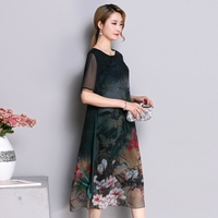 New 2019 Plus Size Dress Casual Beach Party Dresses Women Dress Summer Floral Elegant Party Dresses Silk Clothes