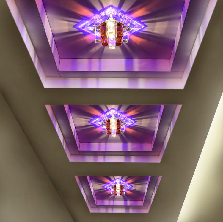 ФОТО 3W LED Crystal Ceiling Light +90-260V +Embeded or Surface mounted + 1pcs/LOt + Free shipping