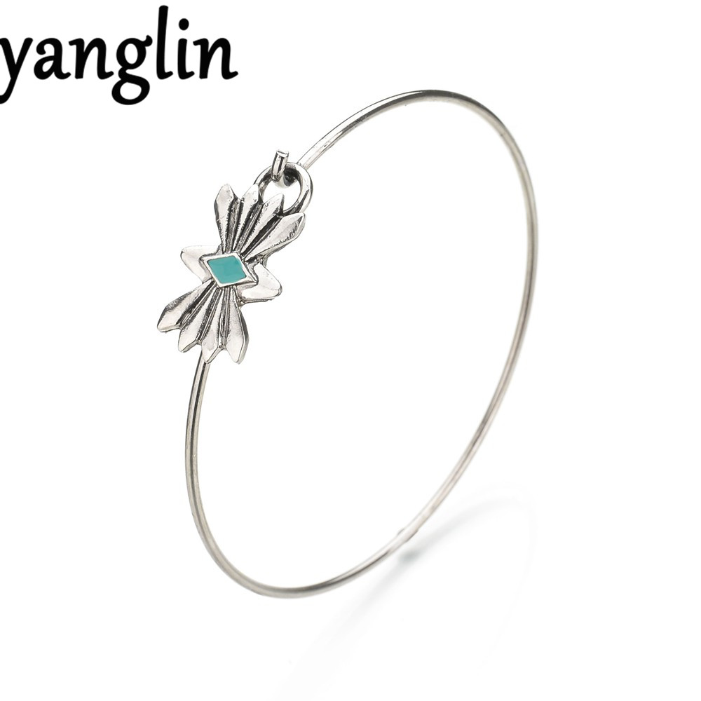 Simple Fashion Women Jewelry Bangles Silver Bow Shaped Stone Bracelet For Women Ladies Bohemian Style Costume Accessories Gifts