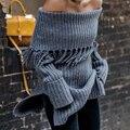 New 2016 Autumn Winter Women LongSleeve Pullovers Slash Neak Split  Irregular Hem Tassels Cardigan Female  Casual Loose Sweater