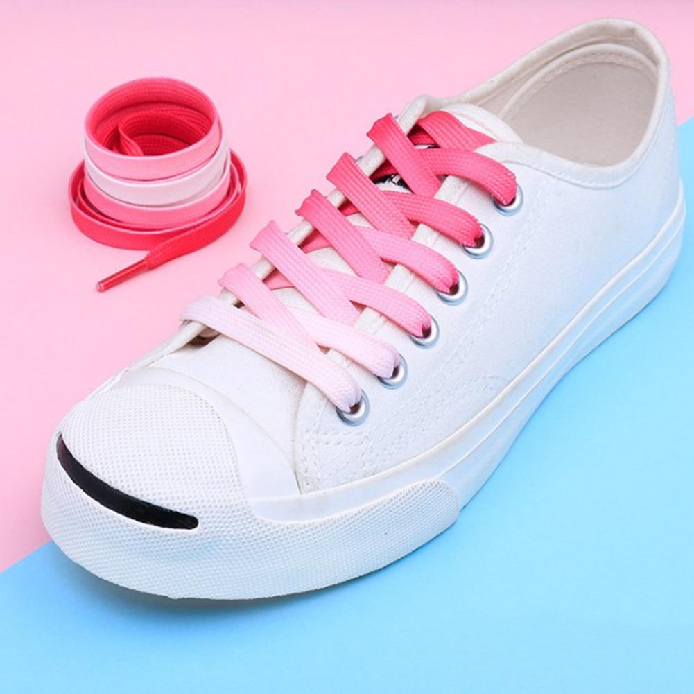 1 Pair Rainbow Shoelace Flat Canvas Athletic Shoes Laces Sport Sneaker Shoe Laces Boots Candy White Purple Patchwork Shoelace