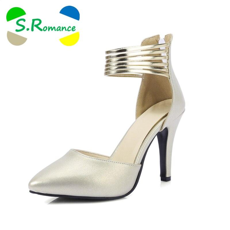 S. romance 여성 샌들 플러스 크기 31 44 높은 뒤꿈치 패션 버클 스트랩 사무실 레이디 펌프 여성 신발 골드 핑크 그레이 그린 ss922-에서하이힐부터 신발 의  그룹 1